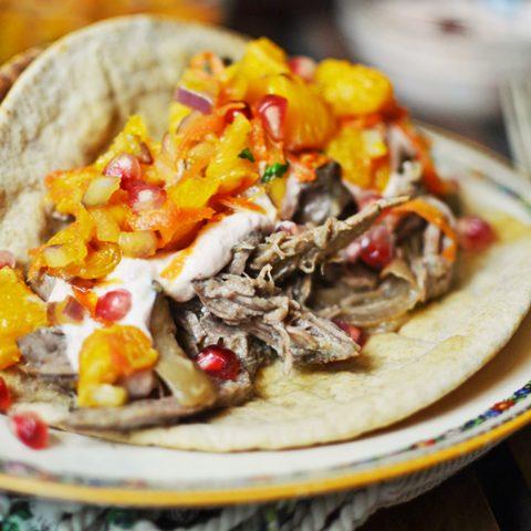 Shredded Lamb Tacos with Orange Salsa - @LittleFiggyFood - #AmericanLamb - #LambRecipes - #Tacos