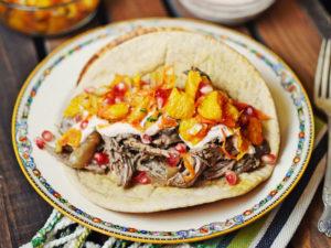 Shredded Lamb Tacos with Orange Salsa