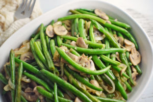 Florida Snap Beans with Caramelized Onions and Mushrooms