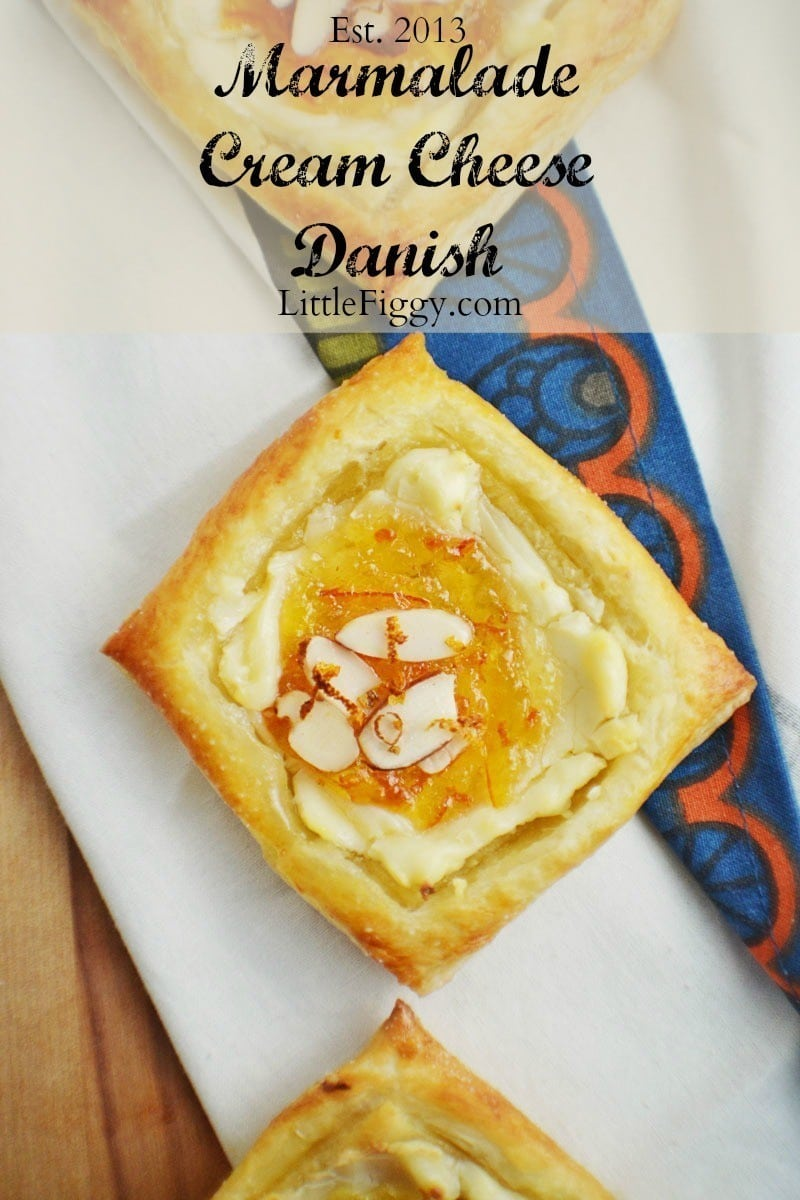 Try this easy to make Marmalade Cream Cheese Danish for a quick and tasty breakfast or even dessert. Recipe found @LittleFiggyFood