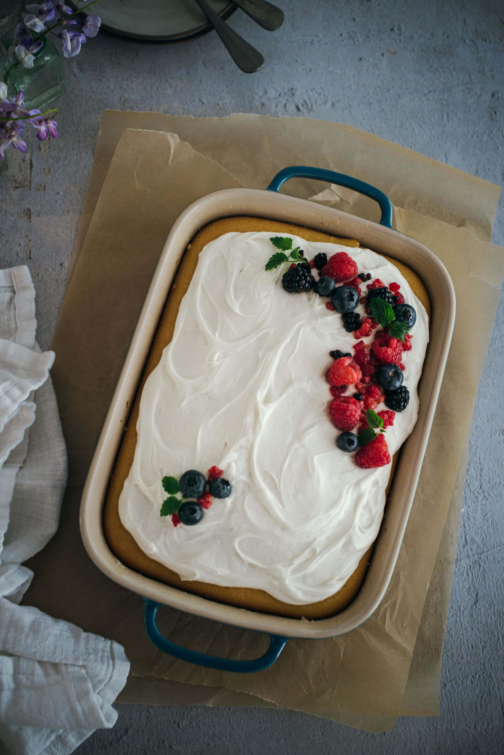 Tres leches cake sheet cake with berries
