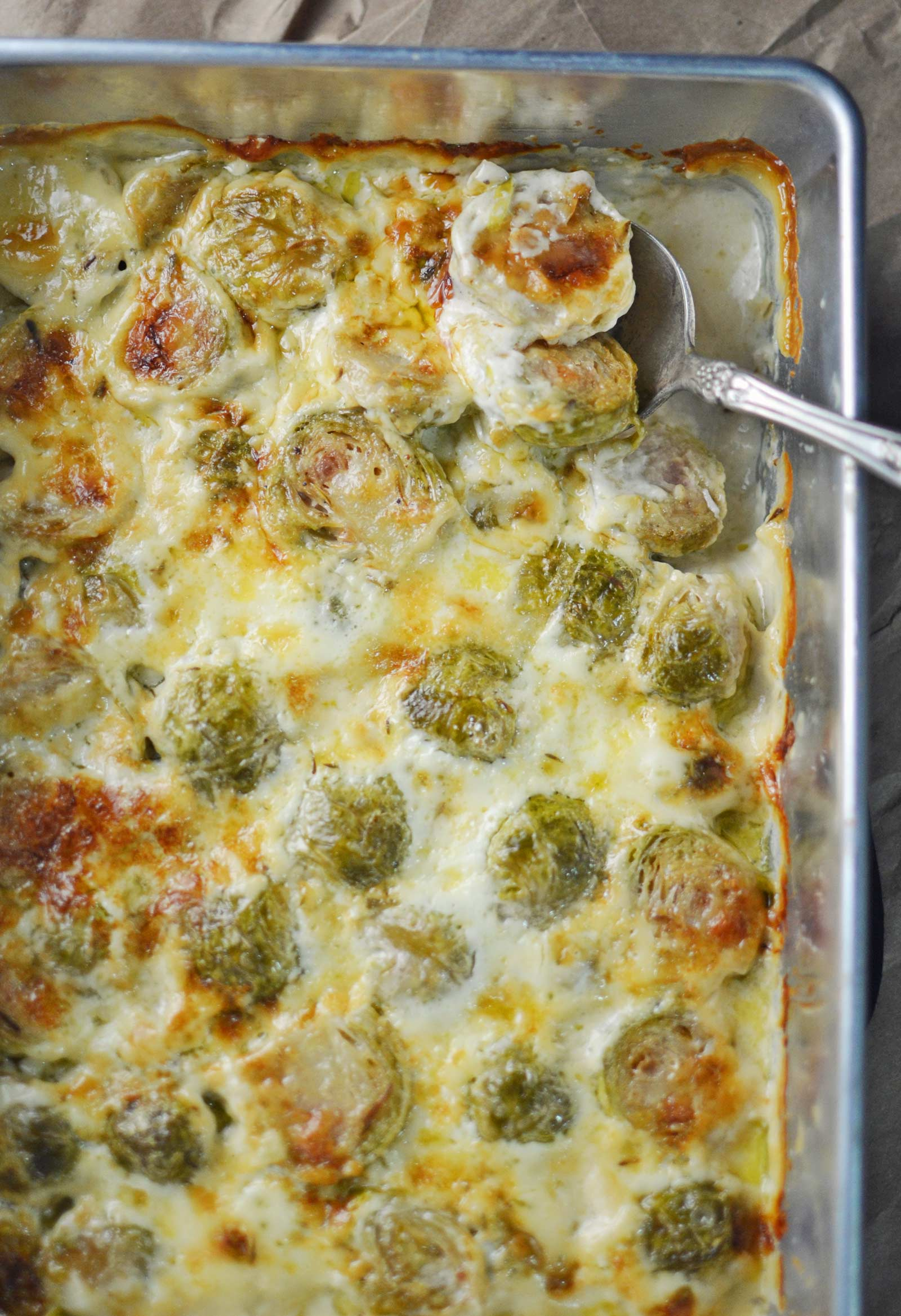 Creamy Brussel Sprouts Au Gratin - the perfect side dish for a simple weeknight dinner or during the Holidays for Thanksgiving, Christmas or New Year's! - Recipe @LittleFiggyFood