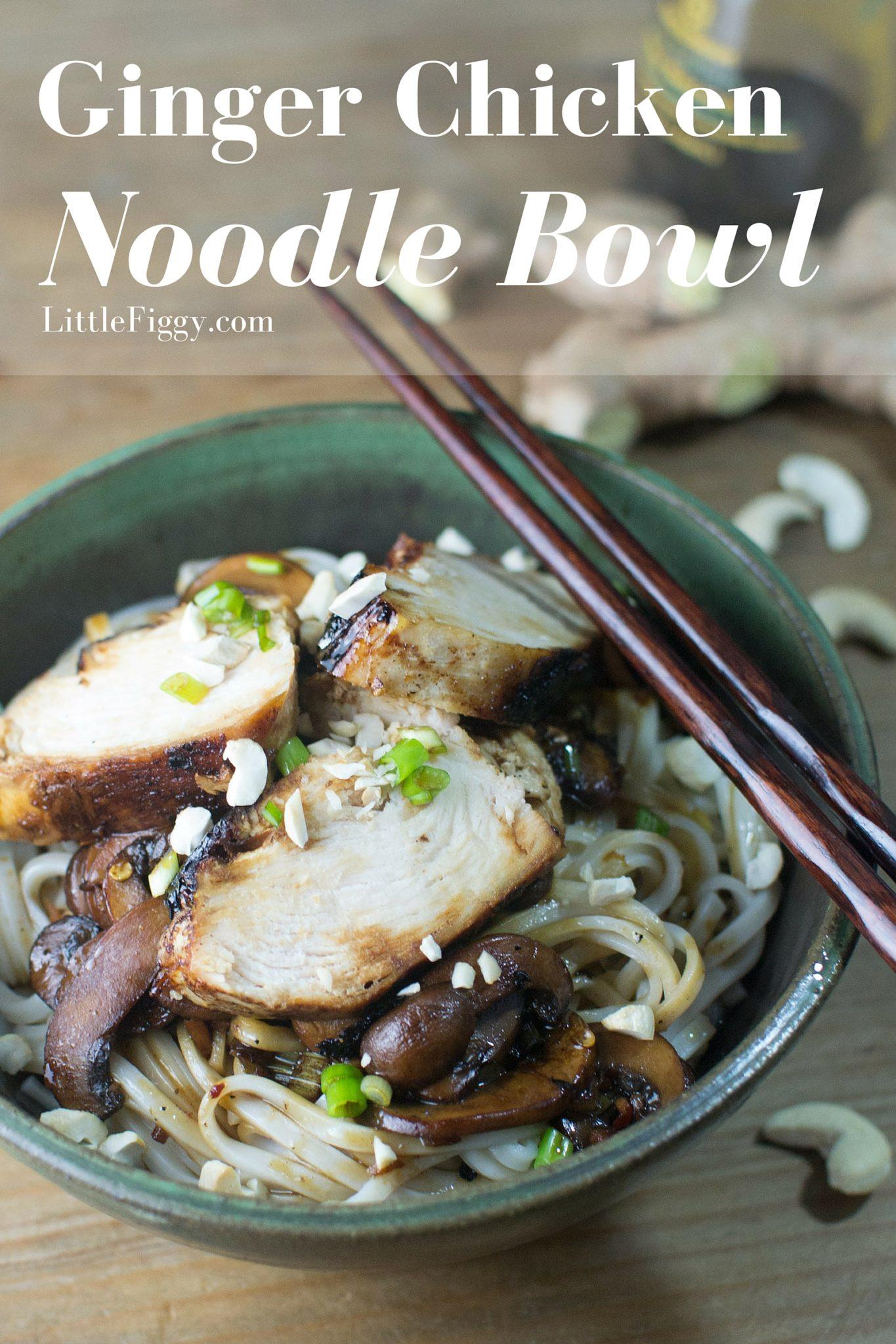 Ginger Chicken Noodle Bowl - #HealthyFoods - @LittleFiggyFood