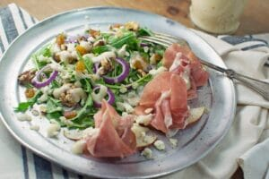 Honey Pear Vinaigrette with Prosciutto Blue Cheese Salad
