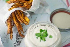 Chili Spiced Sweet Potato Fries with Garlic Lime Sauce