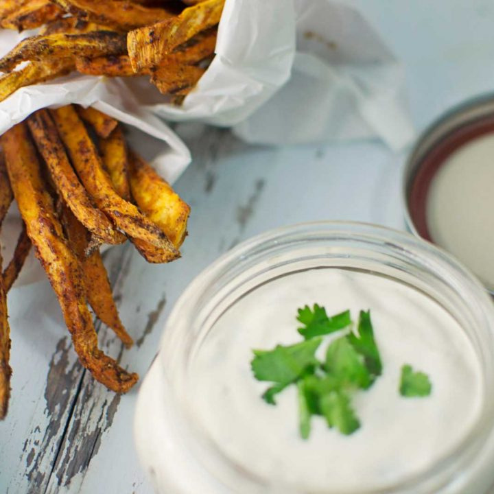 Chili Spiced Sweet Potato Fries with Garlic Lime Dip - @LittleFiggyFood - #Potatoes - Do you want #Fries with that?