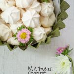 Easy to make Meringues in a green dish with pink flowers