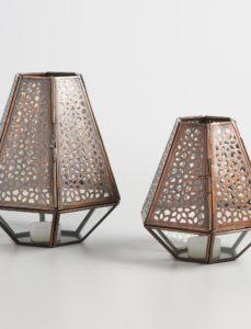 Antique Copper Hurricane Lanterns