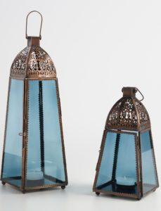 Antique Copper Blue Lanterns