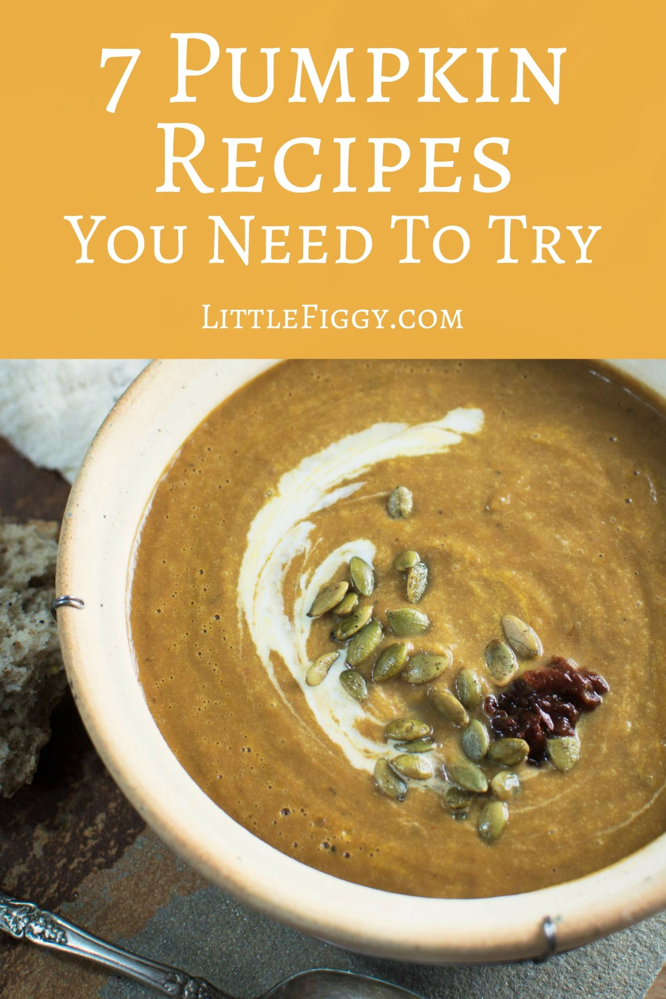 7 Fall Recipes that are all about Pumpkin! Get the recipes at Little Figgy Food