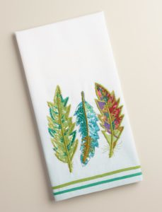 Embroidered Feather Kitchen Towel