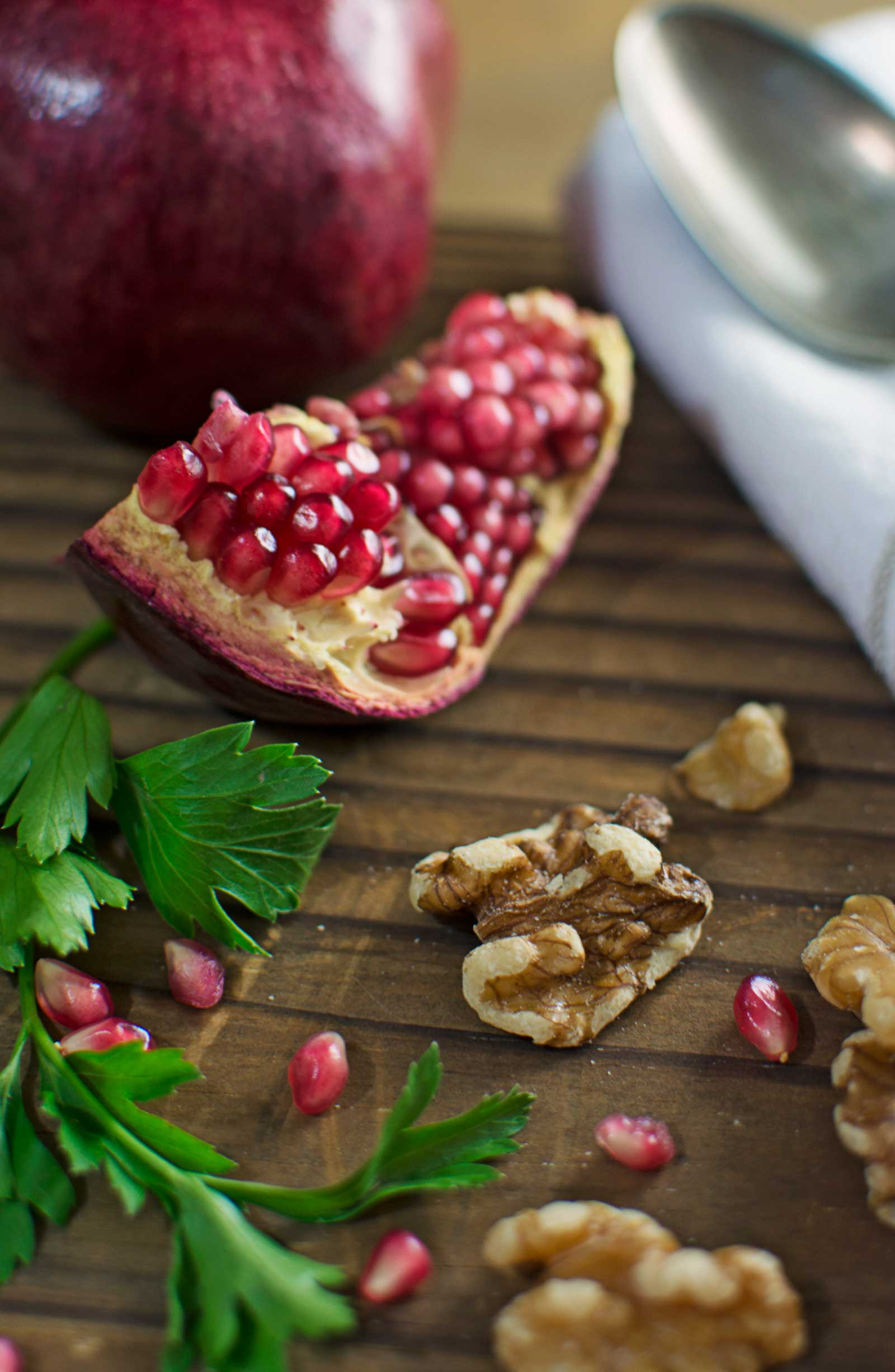 Ingredients for Fesenjan, and Iranian Chicken Stew with Pomegranates and Walnuts. Recipe found @LittleFiggyFood