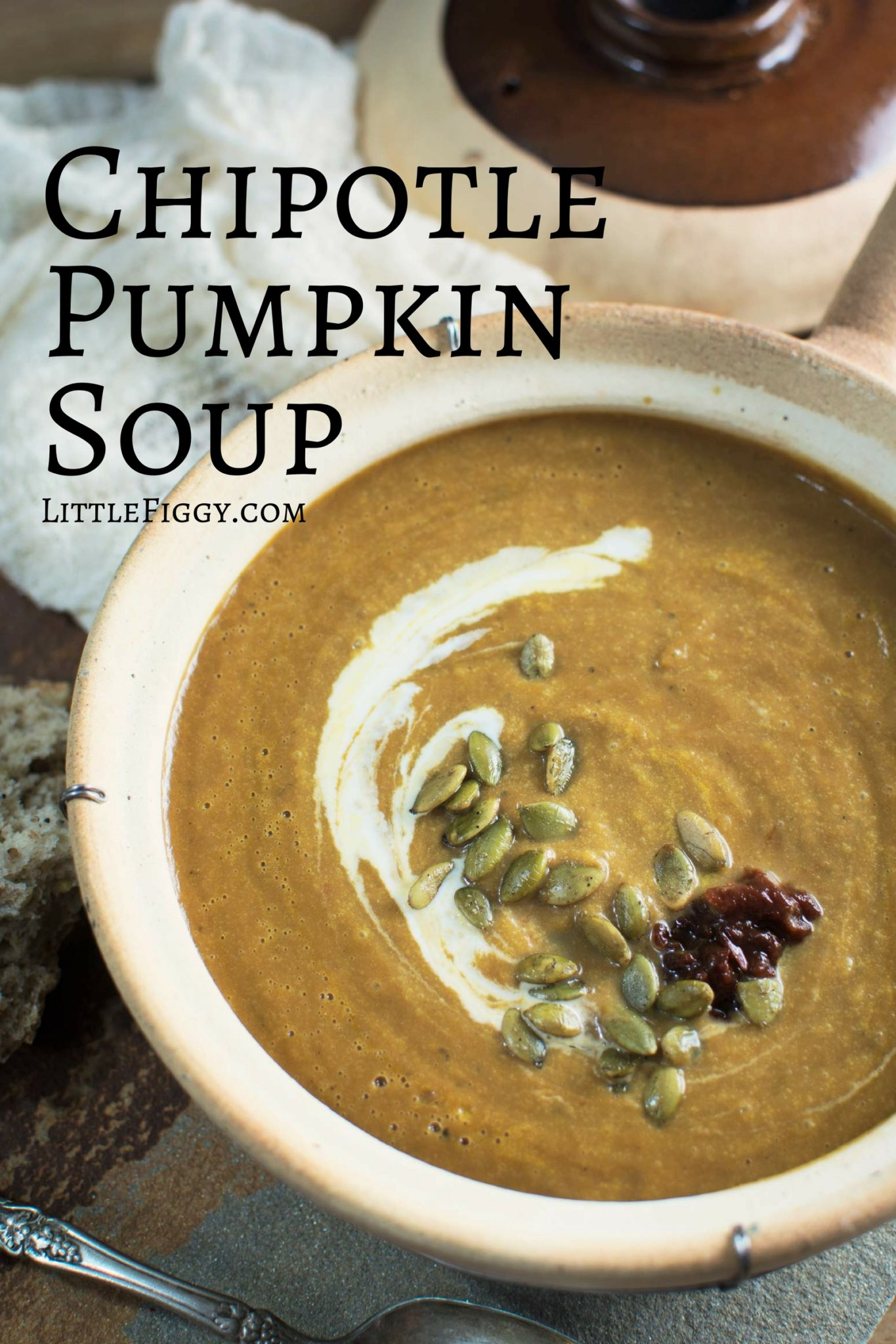 Warm up with this Chipotle Pumpkin Soup and enjoy! Recipe @LittleFiggyFood
