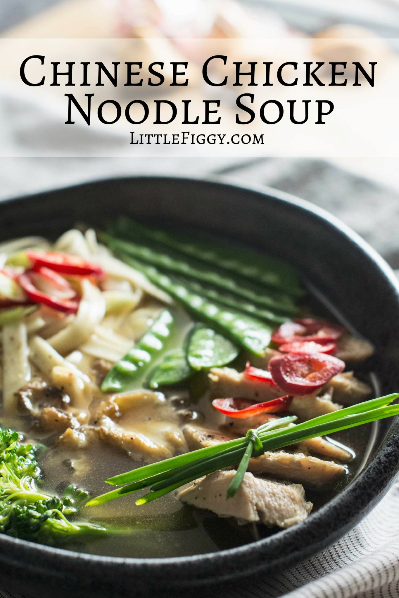 Enjoy this soothing Chinese inspired Chicken Noodle Soup, it's so comforting and full of goodness! Recipe @LIttleFiggyFood