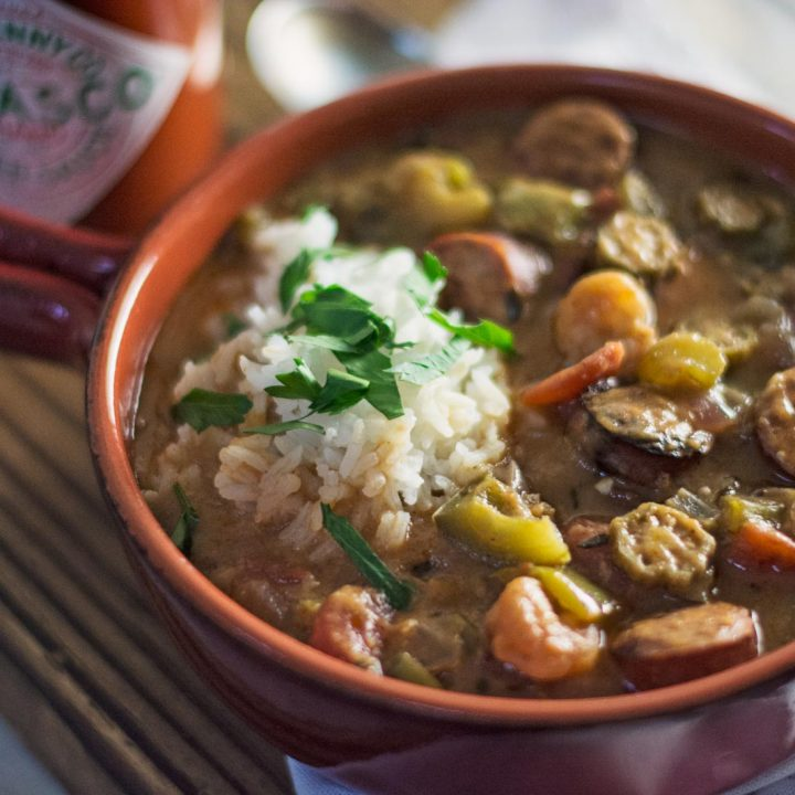 Try this smokey flavored New Orleans classic, Sausage & Shrimp Gumbo! Recipe @LittleFiggyFood