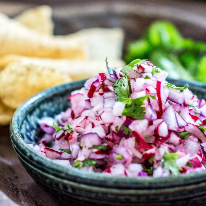 So fresh tasting and easy to make, Radish Pico de Gallo! Recipe from Little Figgy Food