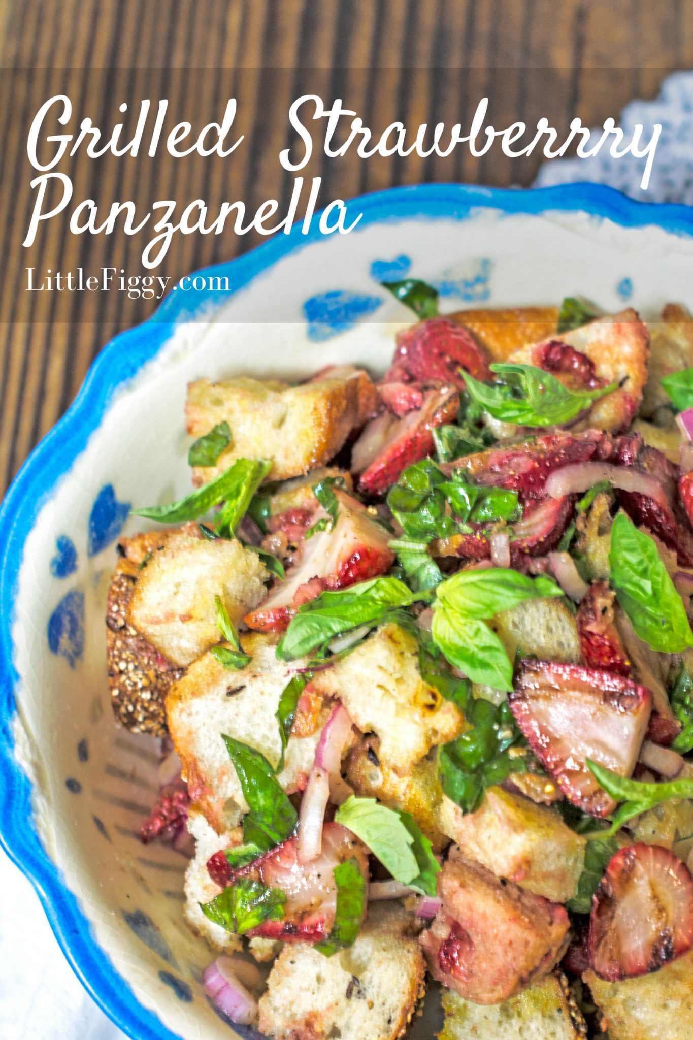 Easy to make and perfect to celebrate warm weather, Grilled Strawberry Panzanella! @hamiltonbeach @Amazon #Grillit #sponsored