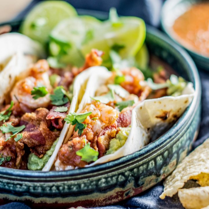 Make these super easy Tequila Shrimp Tacos, perfect to enjoy anytime. Get the recipe from Little Figgy Food