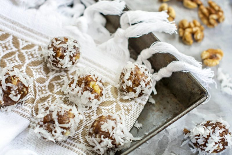 Tempting little sweet bites, Honey Dates and Walnut Bites, great on the go or anytime of day. Recipe at Little Figgy Food