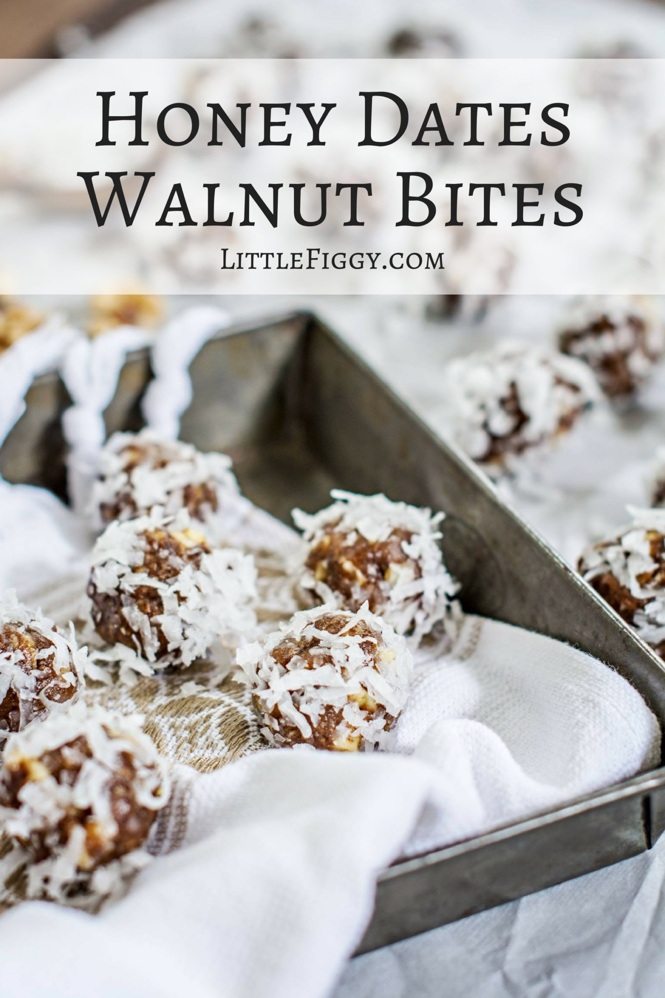 Honey Dates and Walnut Bites, perfect nibbles to keep your energy levels up! Recipe at Little Figgy Food