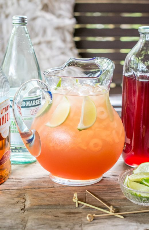 Pitcher of Scarlett O'Hara Punch ready to serve