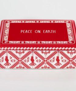Rectangular Peace On Earth Cookie Tin