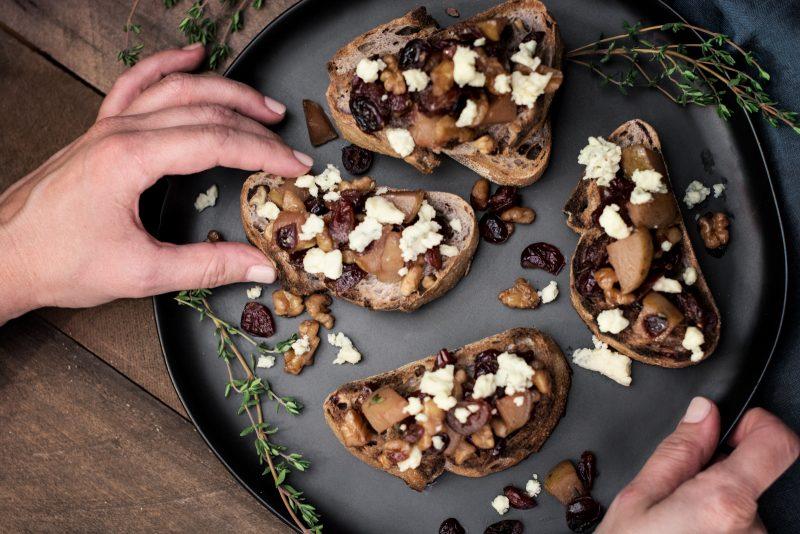 Enjoying Pears Walnut and Blue Cheese Bruschetta