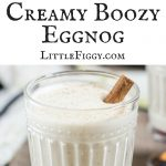 Creamy Boozy Eggnog, perfect for celebrating the holidays! Get the recipe at Little Figgy Food!