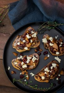 Pear Walnut and Blue Cheese Bruschetta, a Gorgeous Appetizer!