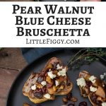 Pear Walnut Blue Cheese Bruschetta recipe with @SalemvilleBlue! Get the Recipe at Little Figgy Food! #SalemvilleBlue #ad
