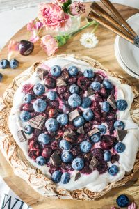 Chocolate Pavlova with Cherry Compote
