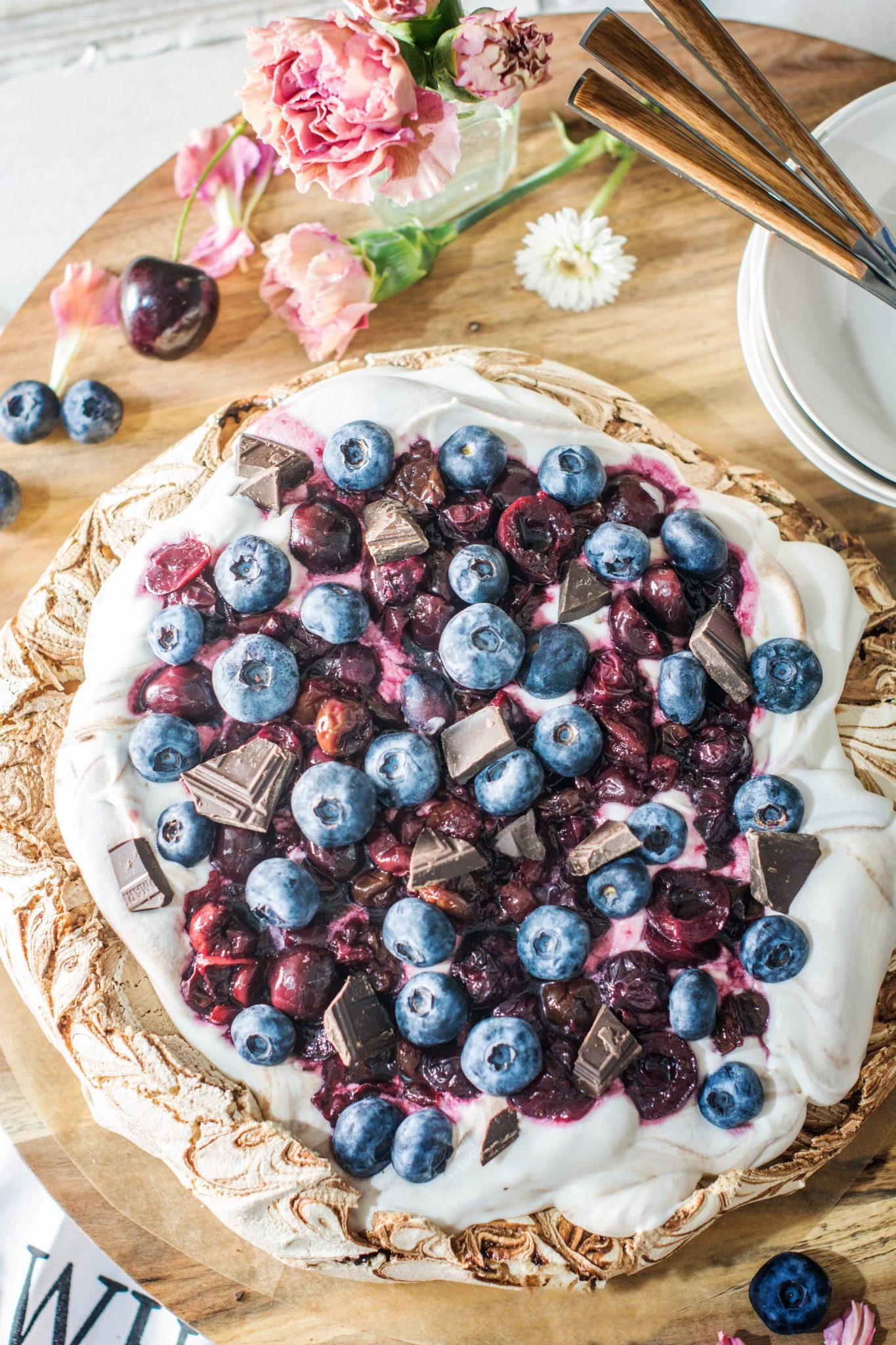 Chocolate Pavlova with Cherries and Blueberries. Get the Recipe at Little Figgy Food. @WorldMarket # #worldmarkettribe #ad
