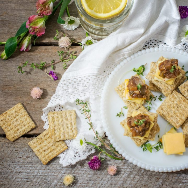 Enjoy making your own Ploughmans Pickle, Britains favorite pickle! Serve it on TRISCUIT Crackers with a nice sharp cheese! Get the recipe at Little Figgy Food. #ad #TriscuitCharcuterie