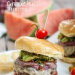 Chimichurri Burger Recipe with avocado, onions, tomatoes on a brioche bun