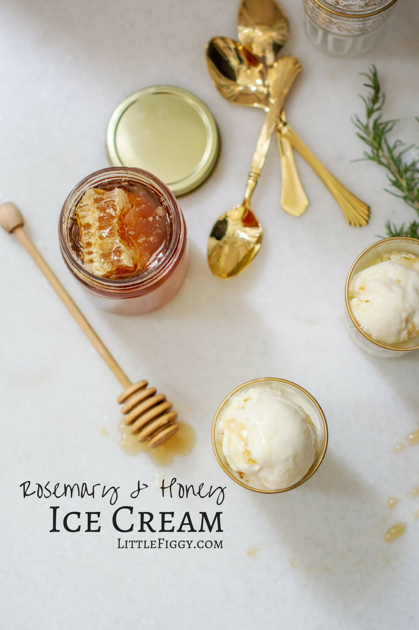 Rosemary and Honey Ice Cream with an extra drizzle of honey.