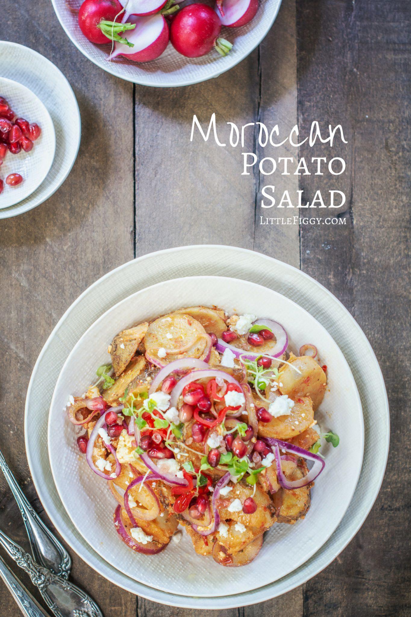 A colorful and full of flavor Moroccan Potato Salad recipe.