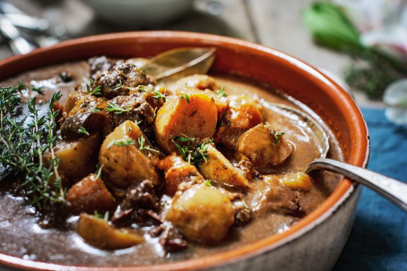 Beef Stew with carrots and potatoes in bowl