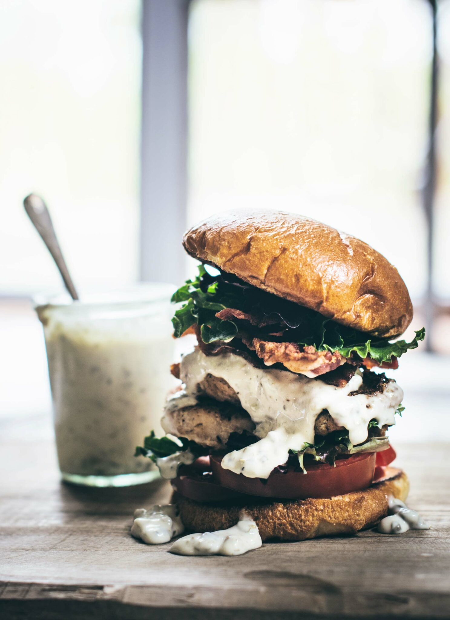 Blackened Salmon Burger with a Caper Remoulade