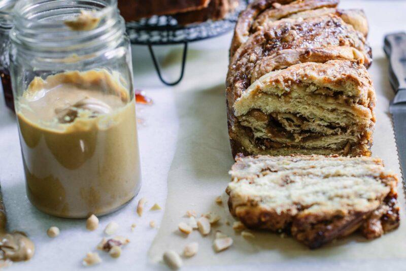 Sliced loaf of sweet bread