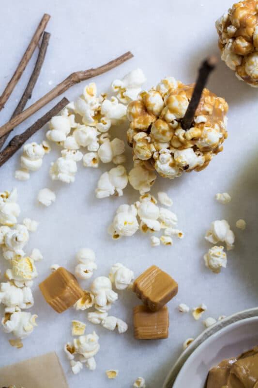 Popcorn and caramel candies