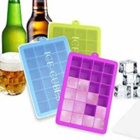 "Ozera 3 Pack Silicone Ice Cube Molds, Ice Cube Trays with Lid, 1.06"" Small Easy Release Ice Tray 24 Cavities Square Ice Molds for Ice, Candy, Chocolate and More (Blue, Green, Purple)"