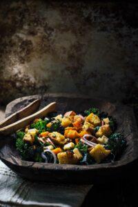 Roasted Butternut Kale Panzanella Salad