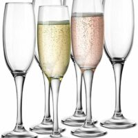 KooK Premium Clear Glass Champagne Flutes, Thin Stem, 7 ounce, 6 pack