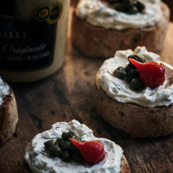 Cream Cheese Capers Dijon Bruschetta