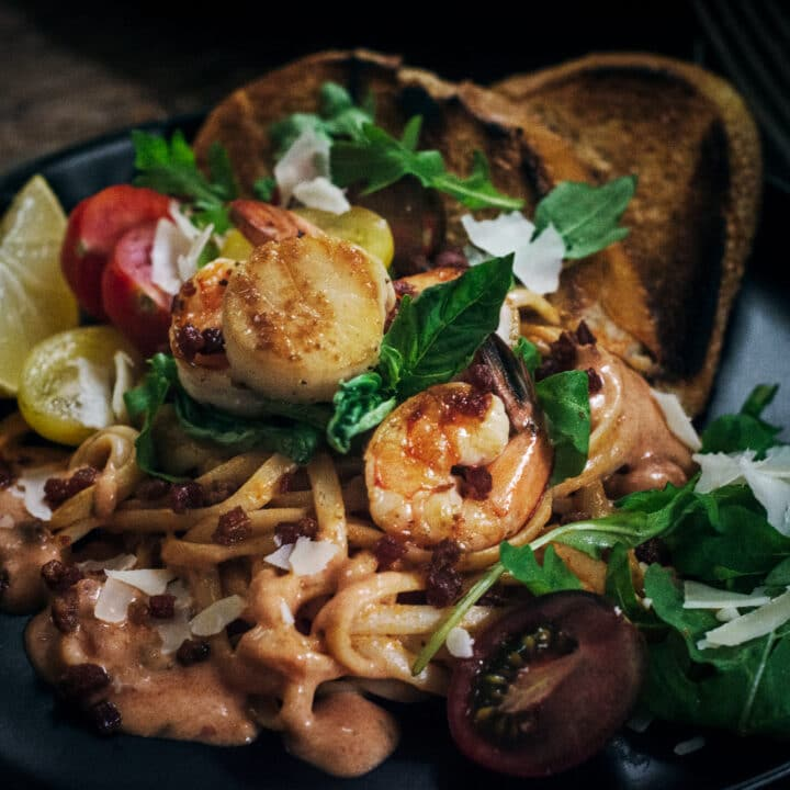 Seafood linguine with Rosa Pasta Sauce