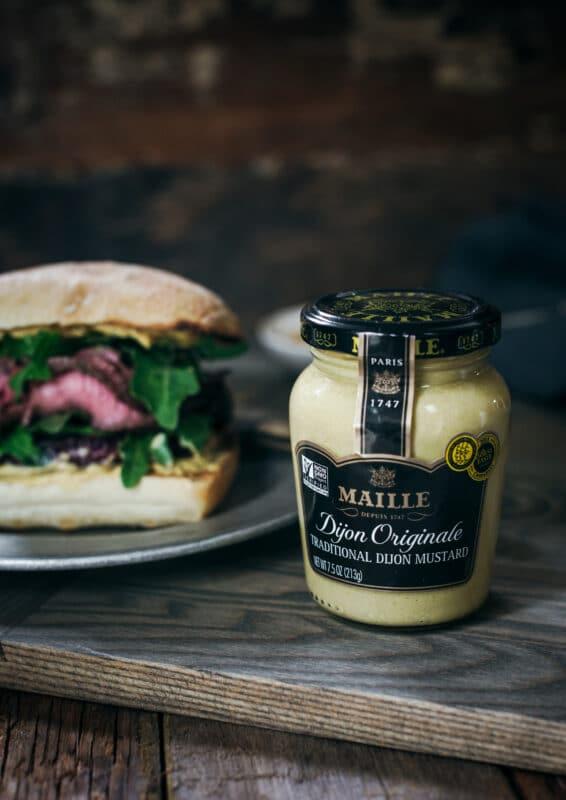 Maille Dijon Originale on cutting board
