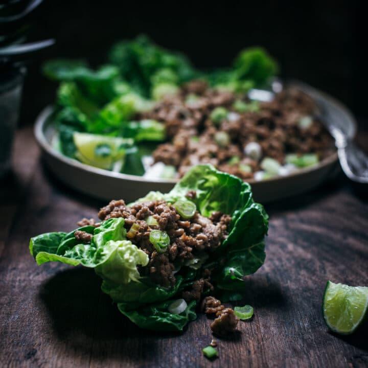 Asian inspired lettuce wrap taco