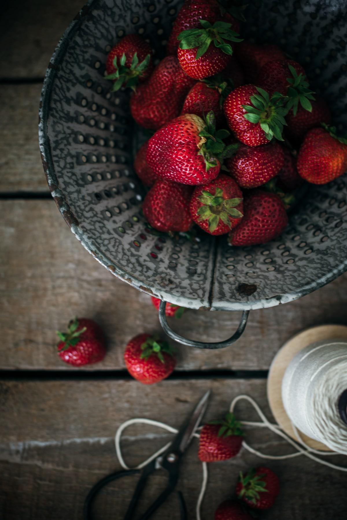 Collander of strawberries