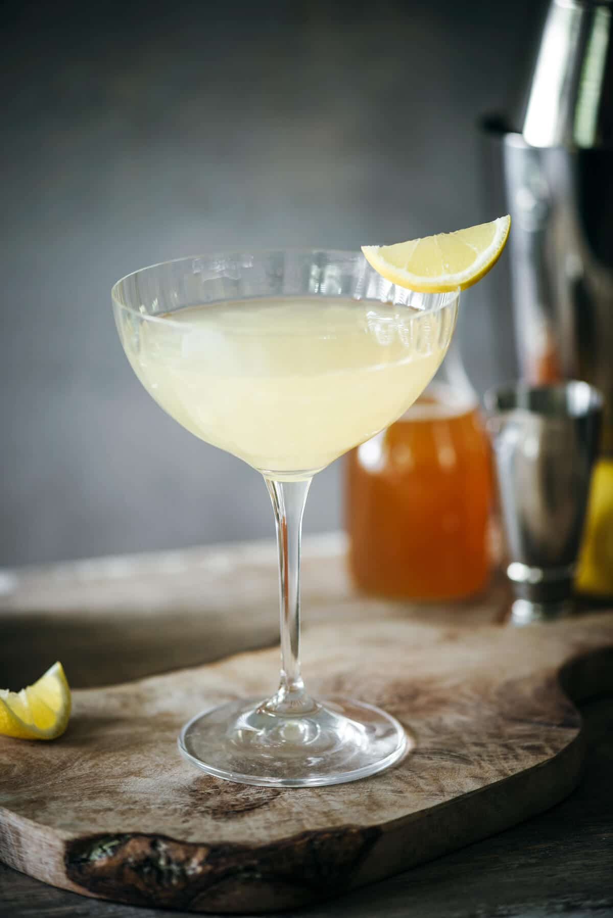 Speakeasy gin cocktail with honey syrup and lemon