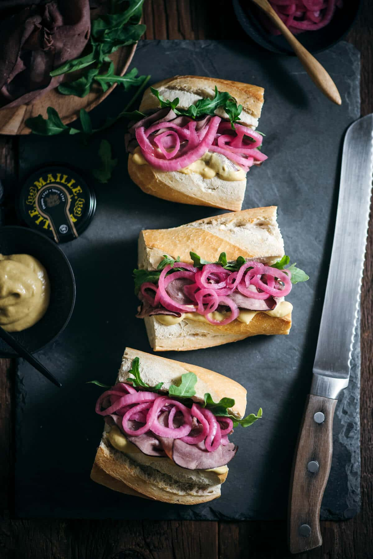 Board with made sandwiches